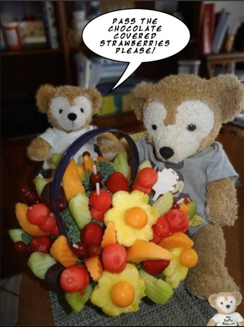 Duffy the Disney Bear favorite healthy treat and Edible Arrangements Fruit Basket