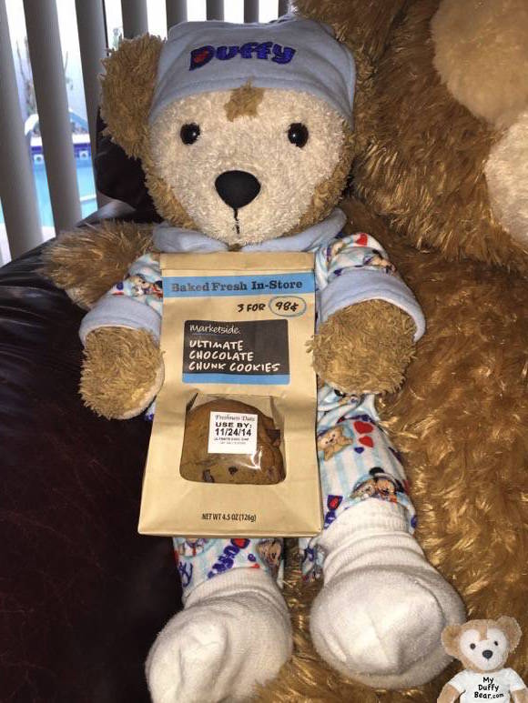 Duffy the Disney Bear shows the cookies he bought at Walmart to bring to his granddaddy in the hospital