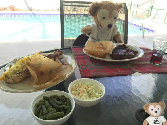 Duffy the Disney Bear calls the waitress for more coke to wash down his Sonny's BBQ special rib dinner
