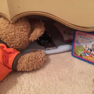 Duffy the Disney Bear sets up the Thunder Boomer relief ... for Little Joe under the dresser