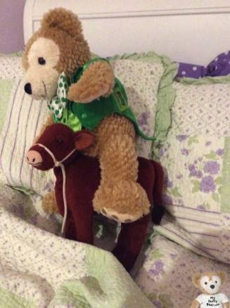 My friend Duffy the Disney Bear tries to ride a cow to cheer up his owner.