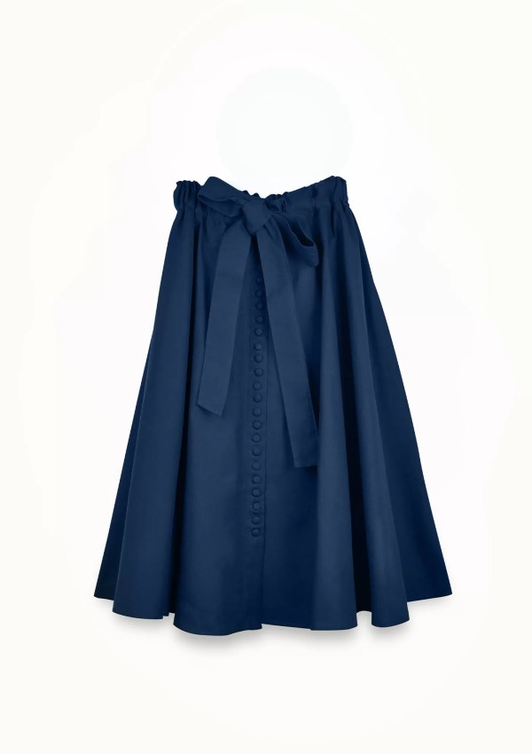 dark blue skirt made from organic and recycled cotton - front