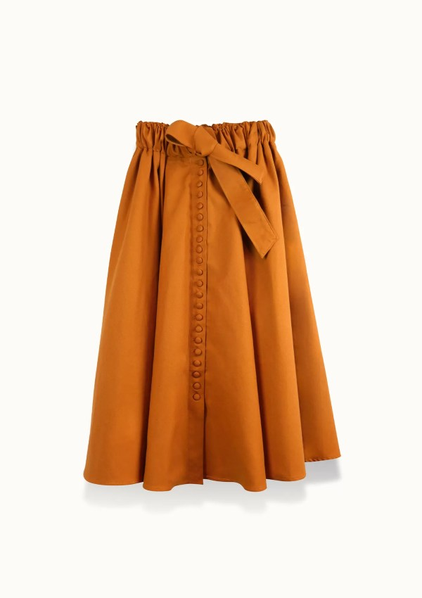 orange skirt made from organic and recycled cotton - front