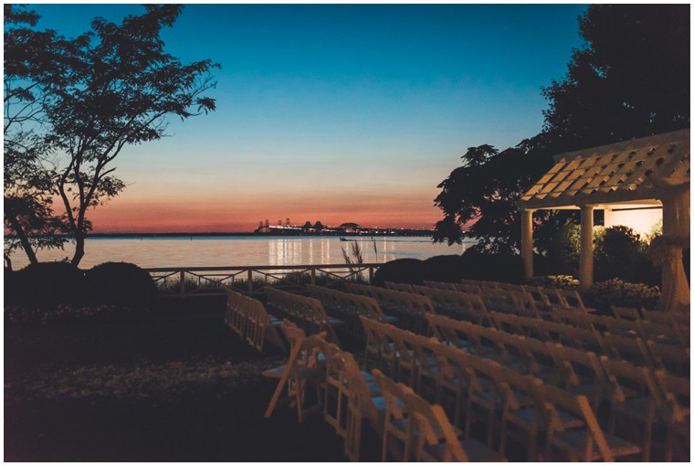 sunset over ceremony site at chesapeake bay beach club