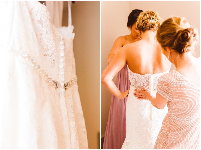 button down wedding dress with lace details