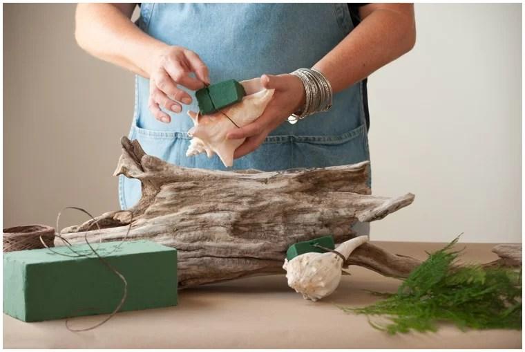 DIY fall driftwood centerpiece