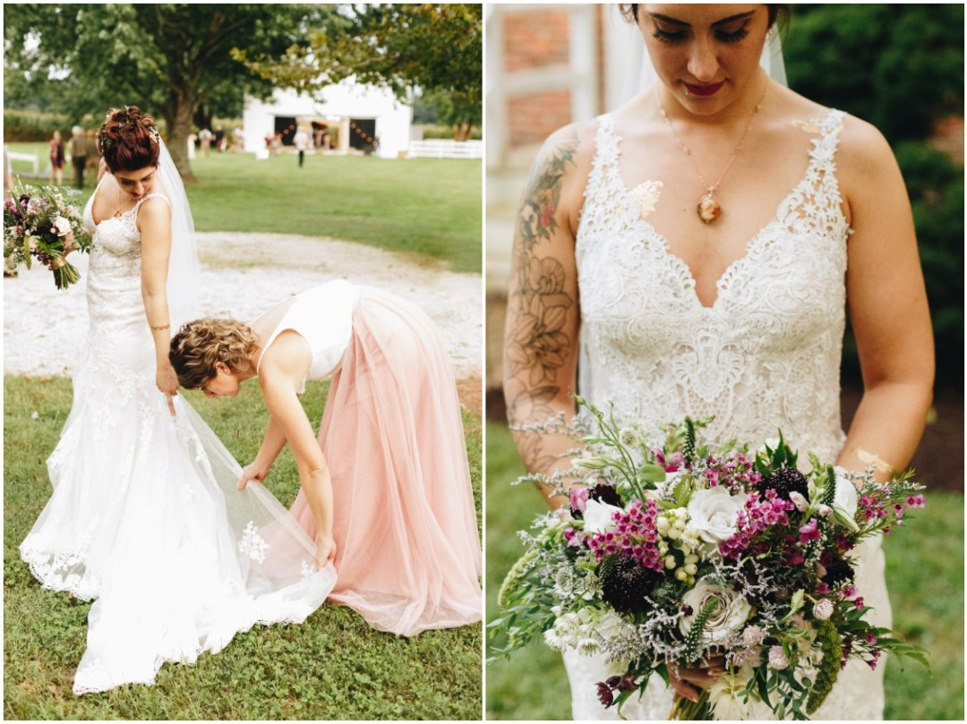Tatted bride, her maid of honor, and wild-flowered bouquet by  Keleidoscope Custom Florals + Butterbee Farm. |Eastern Shore Wedding|