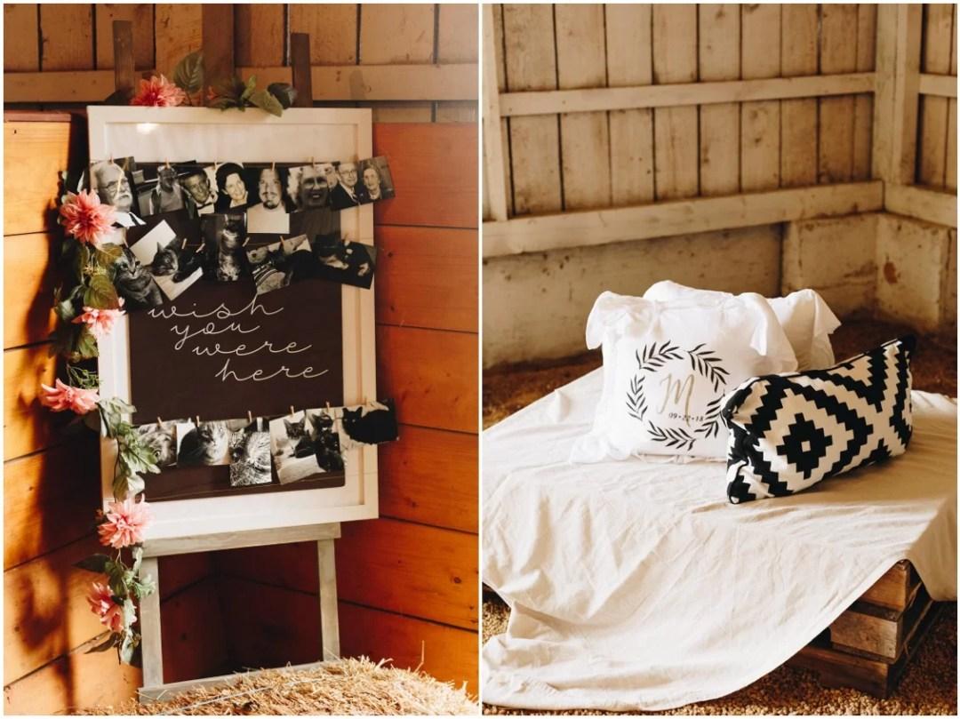 DIY sign, barn wedding, and monogrammed pillows at Whitebarn at Middlespring. |Eastern Shore Wedding|