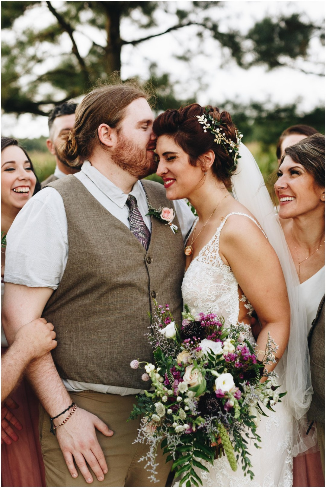 Loose floral bouquet by Keleidoscope Custom Florals + Butterbee Farm and hair by Hair Rehab. |Eastern Shore Wedding|