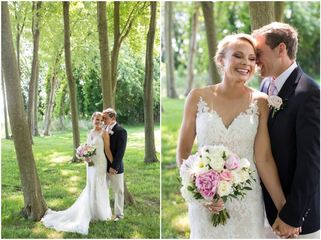 Bride and groom together in the trees, holding hands. | My Eastern Shore Wedding |
