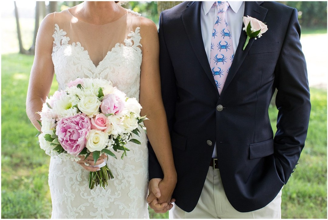 Bright pink and white floral bouquet, rose boutonniere, and a pink tie with blue crabs. | My Eastern Shore Wedding |