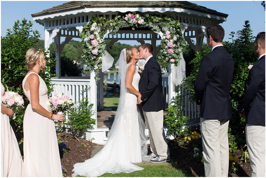 Bride and groom kissing after being married. | My Eastern Shore Wedding |