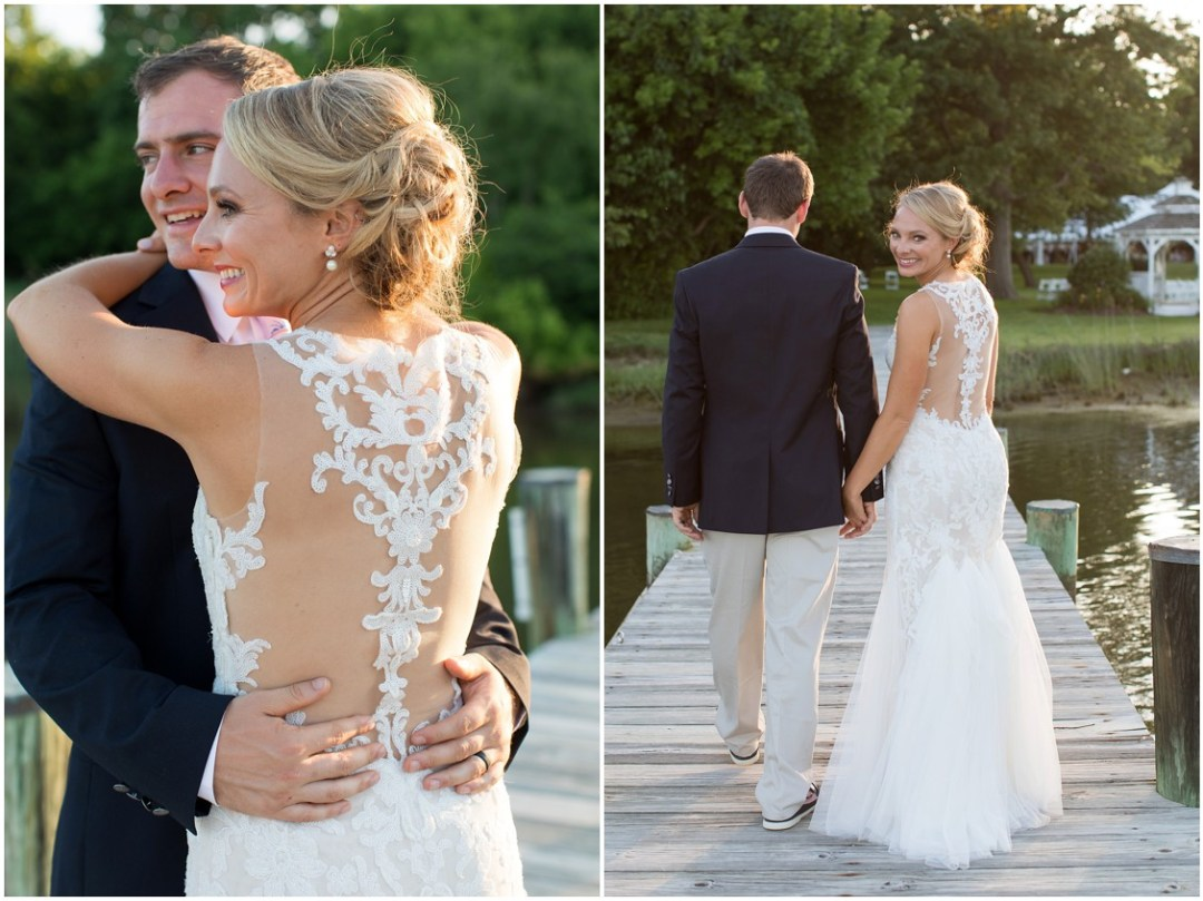 Bride and groom on the dock at sunset, embracing each other at the Historic Kent Manor Inn in Stevensville, MD. | My Eastern Shore Wedding |