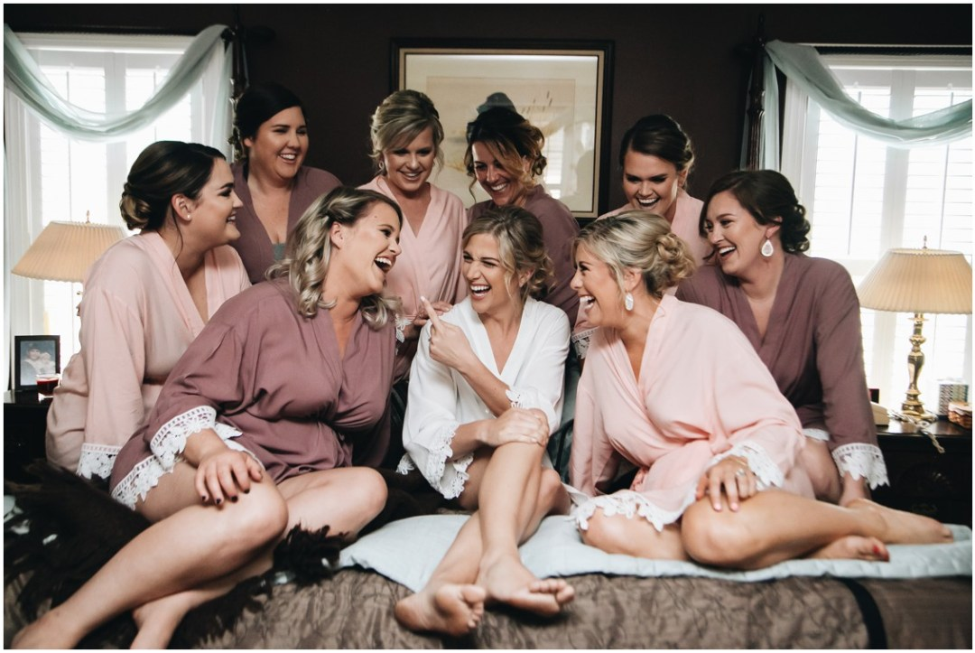 Bride with her bridesmaids, getting ready. | My Eastern Shore Wedding |