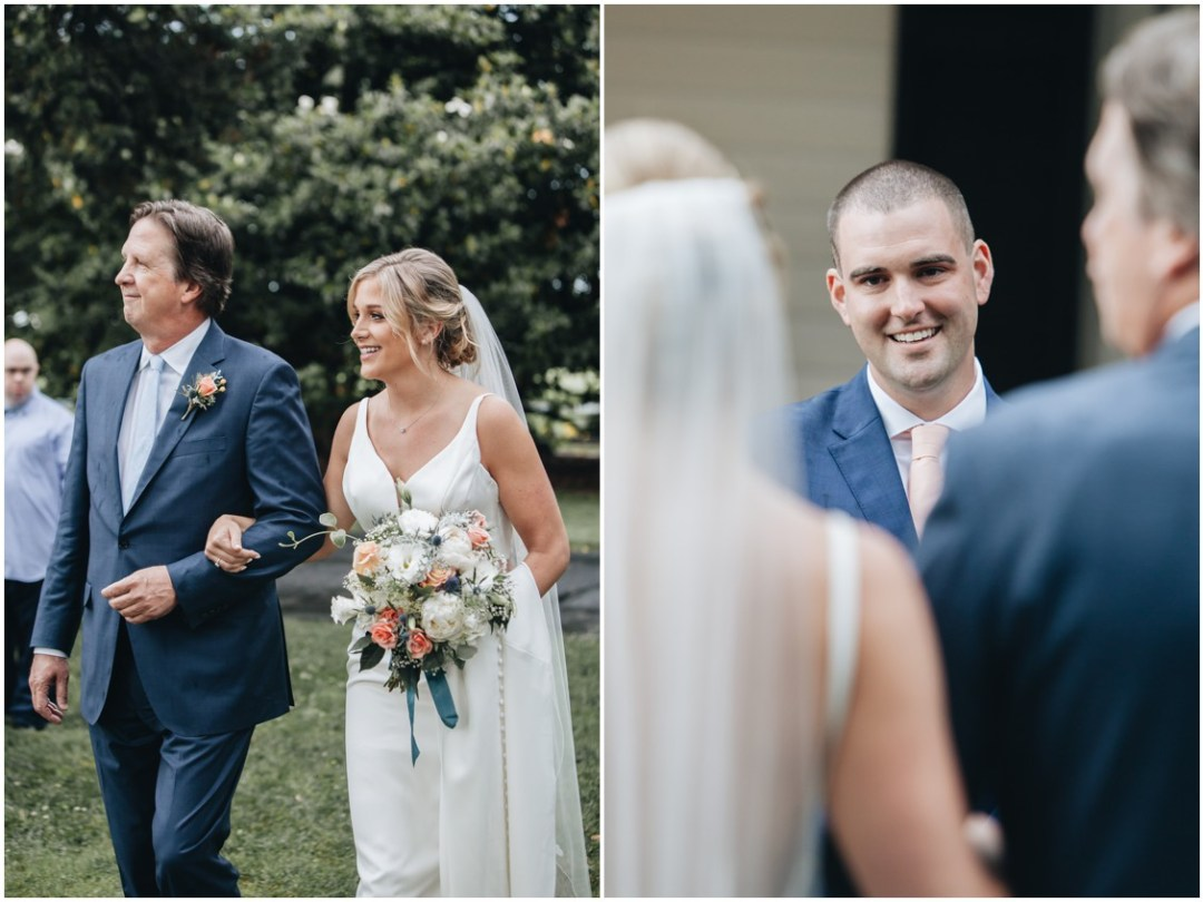 Father walking the bride down the aisle, groom tearing up at the sight of the bride. | My Eastern Shore Wedding |