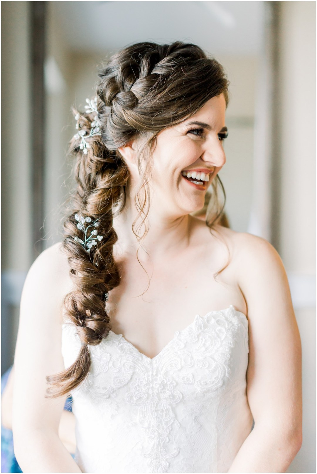 Bride with side braid and strapless wedding gown. | My Eastern Shore Wedding |