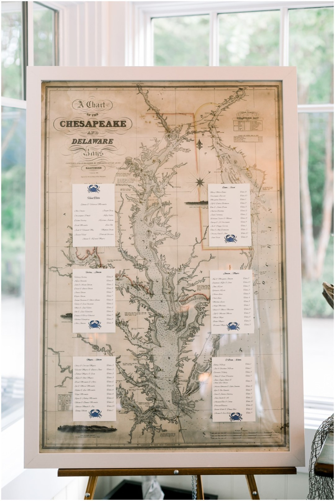 Chesapeake Bay map used for the background for a seating chart. | My Eastern Shore Wedding |