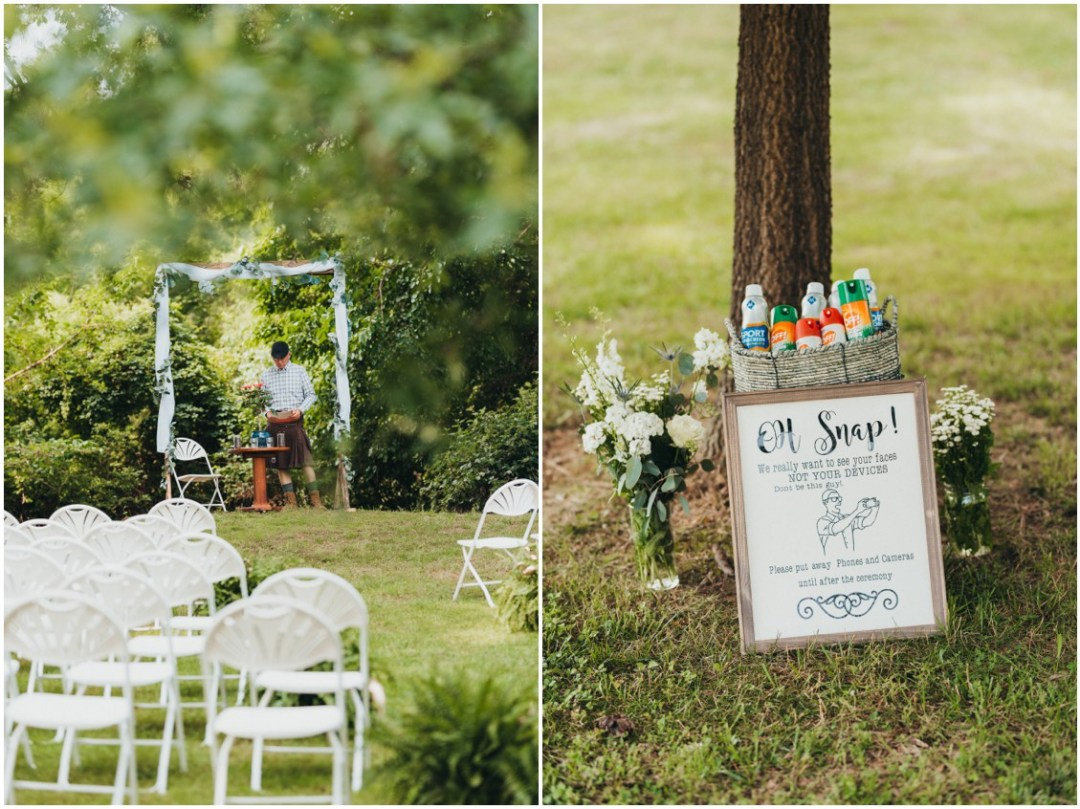 Ceremony details, no cellphones sign, sunscreen and bug spray in a basket. | My Eastern Shore Wedding |