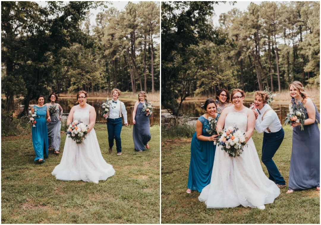 Bride with her bridal party by a pond. | My Eastern Shore Wedding |