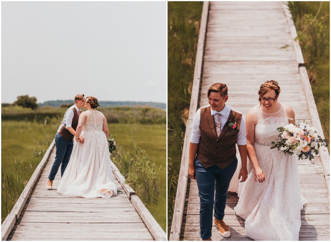 Married couple on long wooden dock together. | My Eastern Shore Wedding |