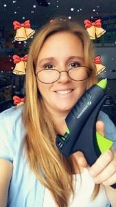 me with a cordless glue gun