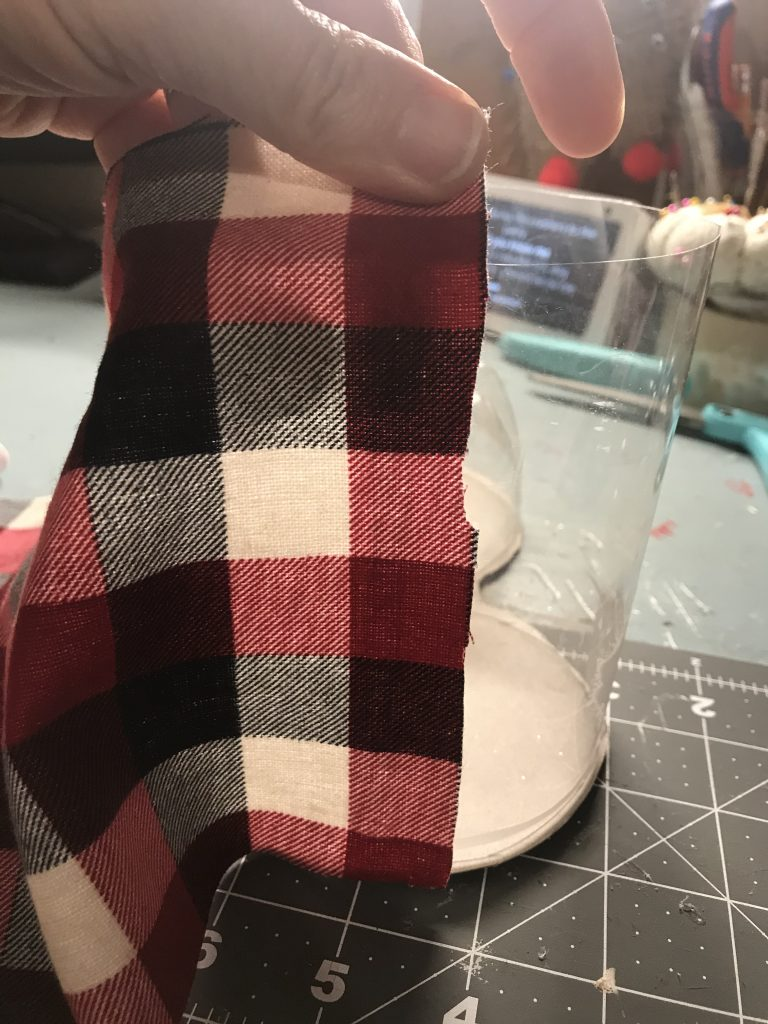 adding fabric to back of soda bottle boot