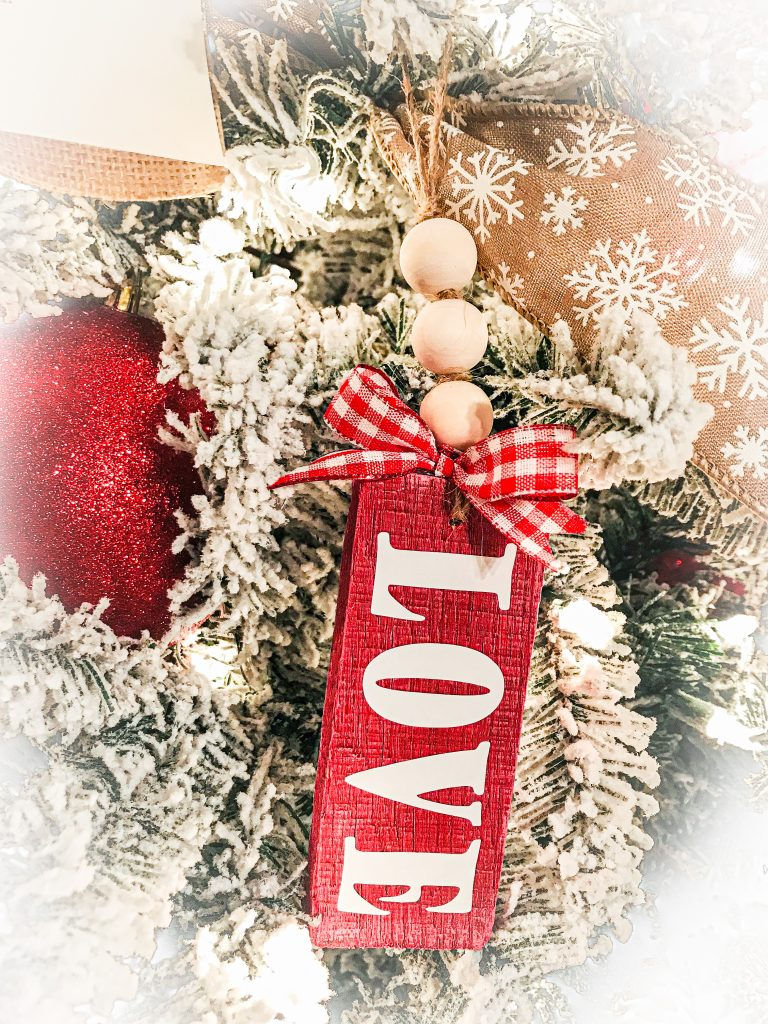 wooden love valentine's ornament