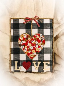 Button Heart Canvas – Valentine's Crafts