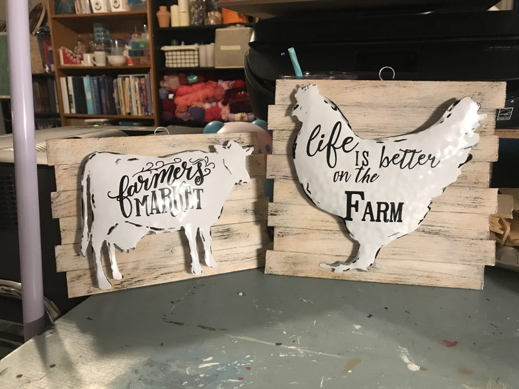 rooster and cow farm house signs made with garden stakes and paint sticks