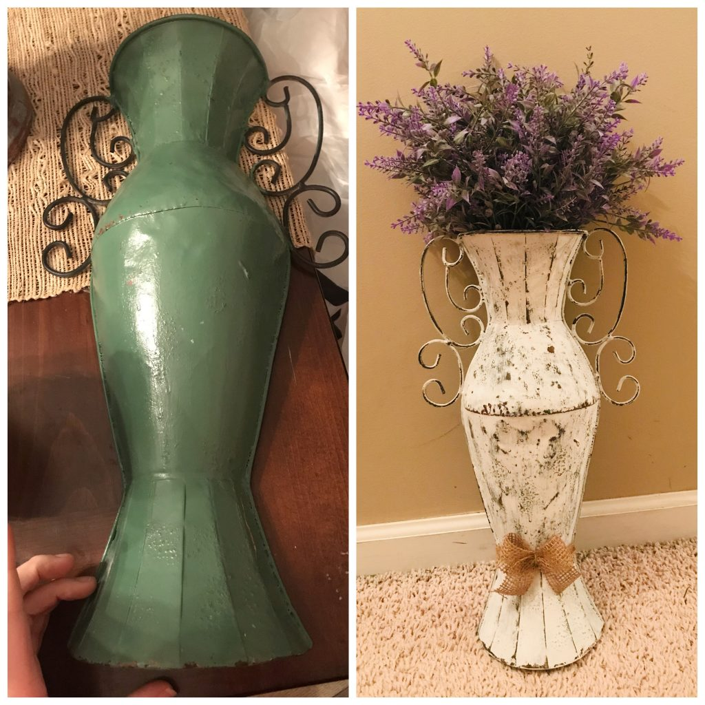 before and after of a metal wall vase farmhouse makeover