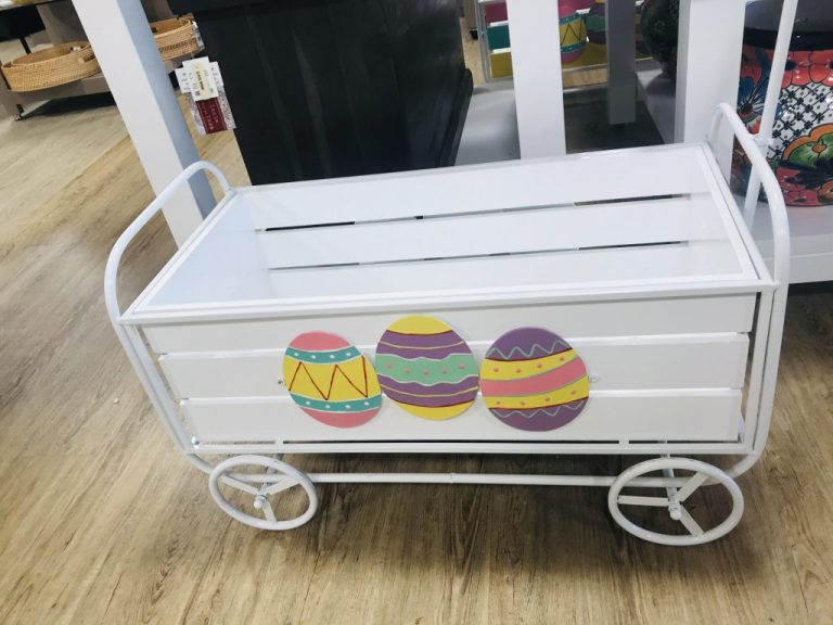 wooden easter cart decor