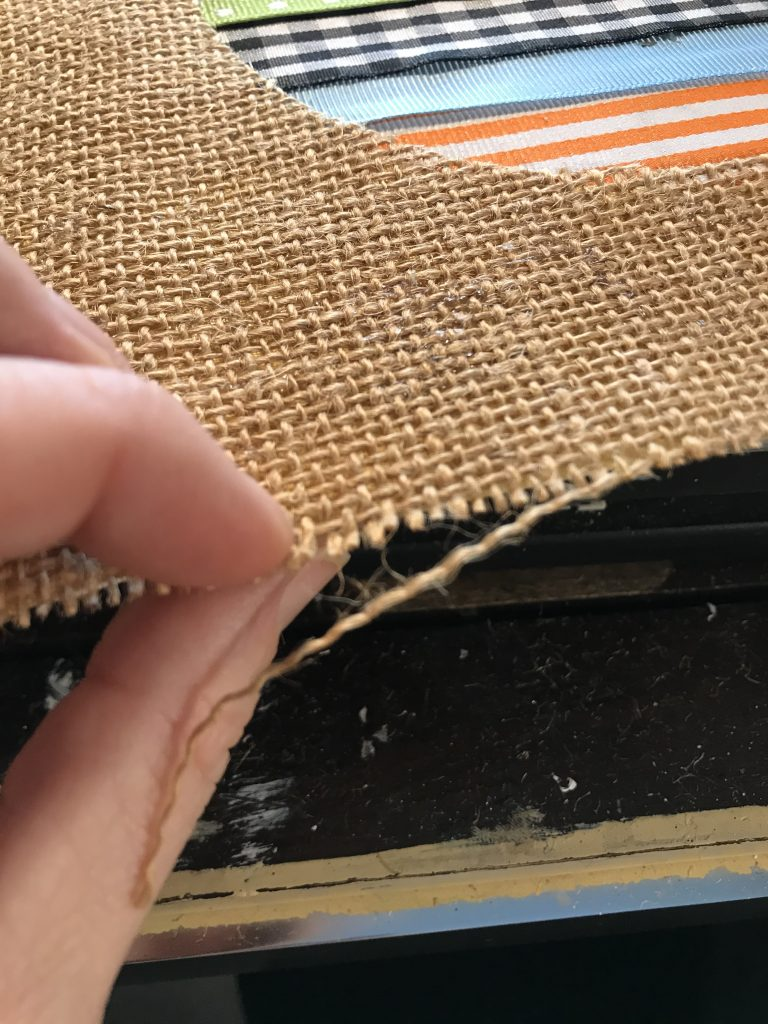 fraying the edges of burlap fabric