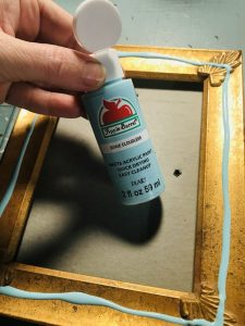 painting a frame blue cloudless apple barrel paint