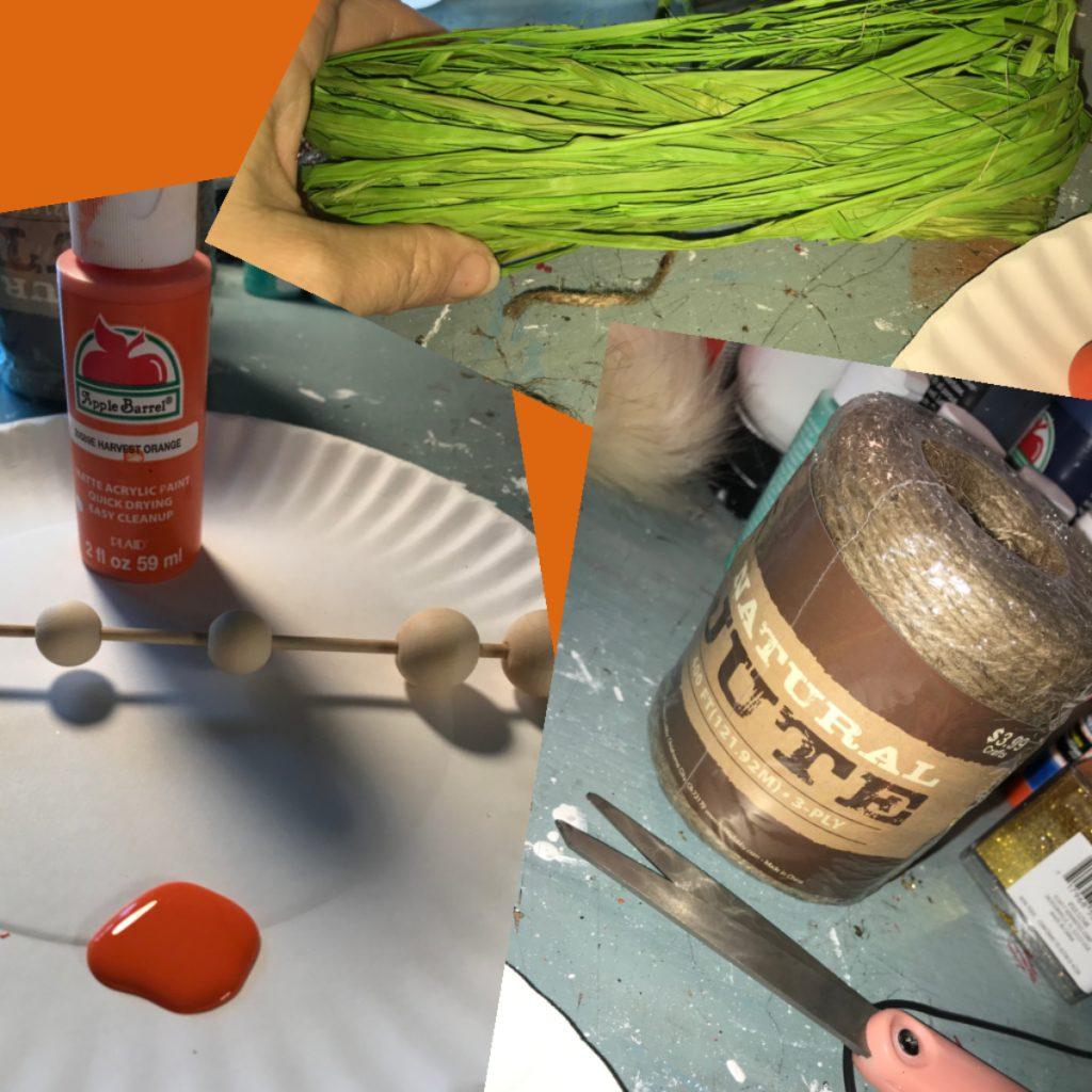 wood beads orange paint green raffia jute twine