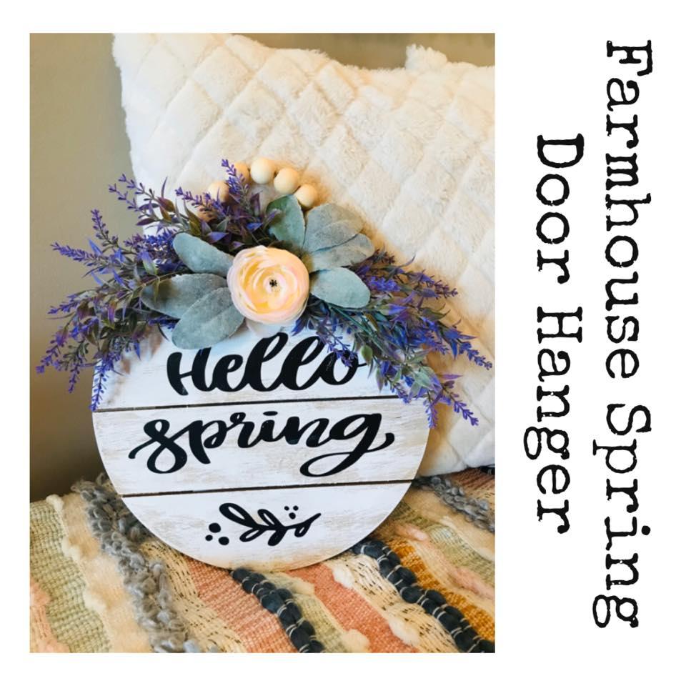 Farmhouse spring door hanger | farmhouse door hanger | farmhouse floral sign
