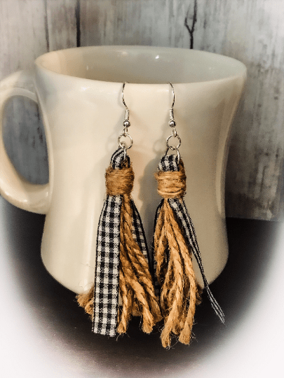 farmhouse tassel earrings | buffalo plaid jewelry | rustic earrings | gingham accessories