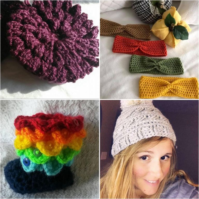 crochet collage | rainbow crocodile booties | popcorn scrubbies | crochet headwrap | crochet beanie
