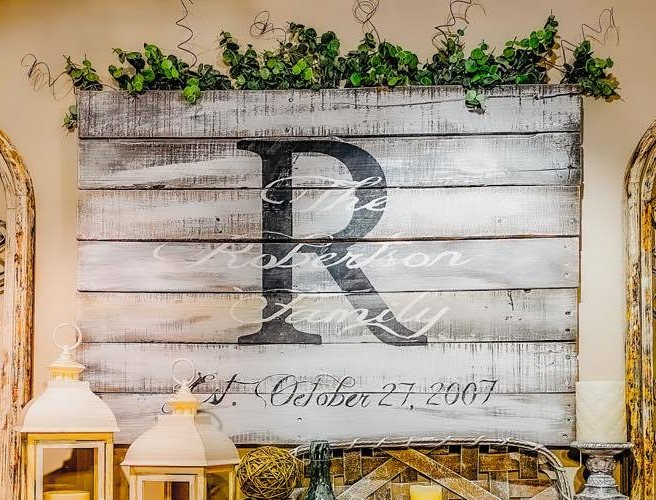 pallet wood sign with initial monogram | farmhouse decor | rustic sign