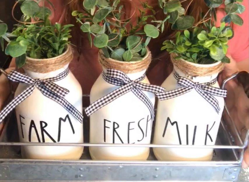 farmhouse milk jars kitchen decor DIY