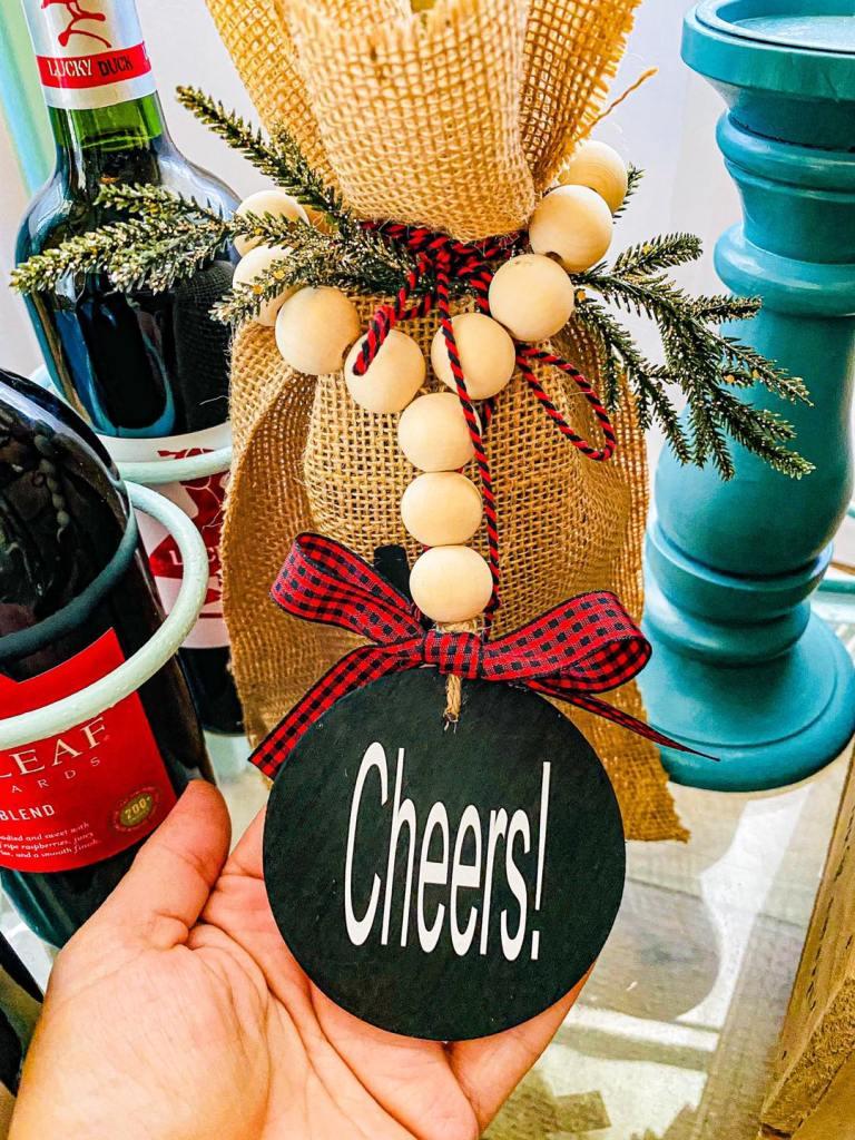 Wood Bead Wine Bottle Tag