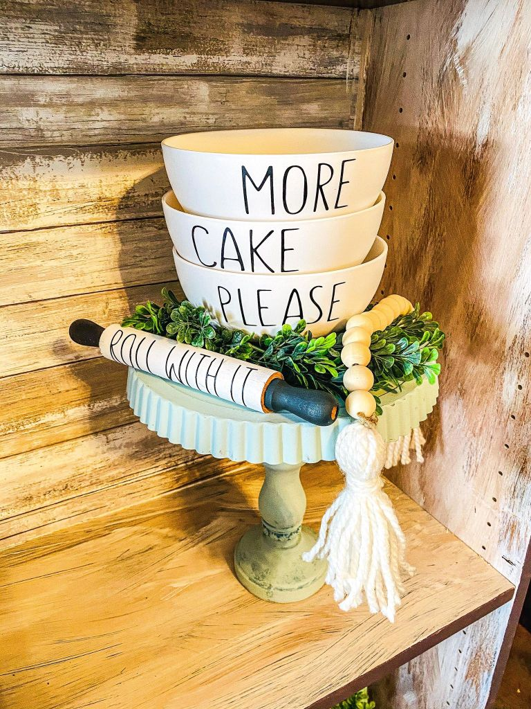 every day decor ideas   cake stand DIY   kitchen decor DIY   rae dunn decor   rolling pins   wood bead garland   more cake please