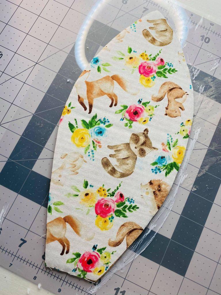 adding fabric to cardboard bunny ears