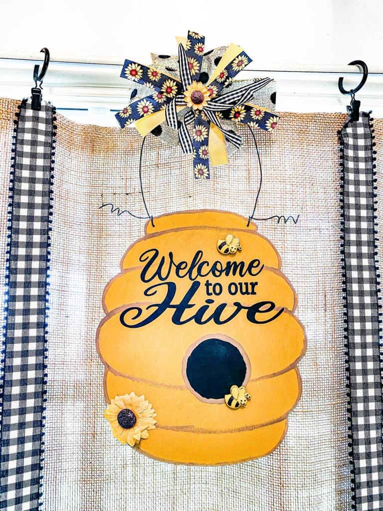 welcome to our hive wooden beehive cutout doorhanger