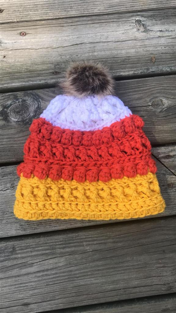crochet candy corn beanie hat #crochetcandycornhat