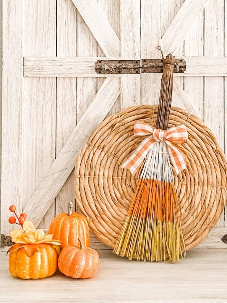 candy corn broom #candycorndiy