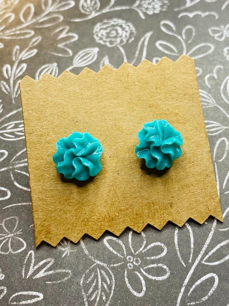 Teal flower Ruffle stud earrings