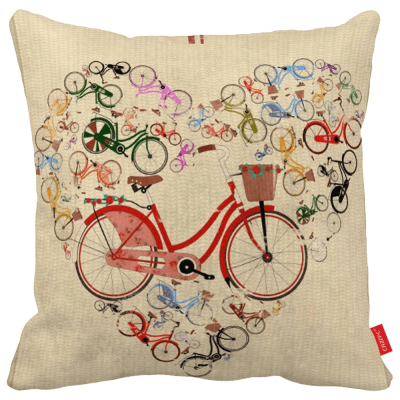 heart bicycle vintage throw pillow case