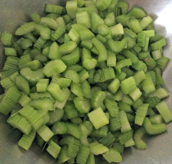 Celery ready for Waldorf Salad