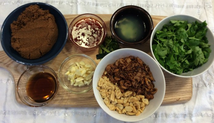 Thai style sticky pork ingredients