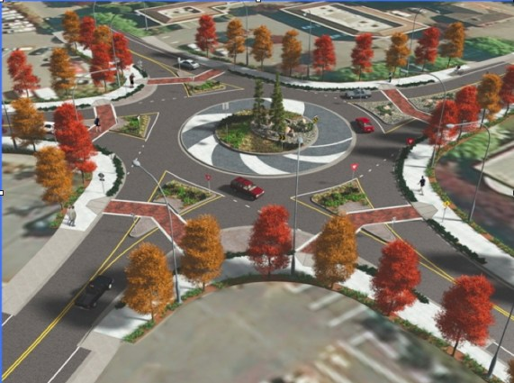 An artist's rendering of the proposed roundabout at Five Corners.